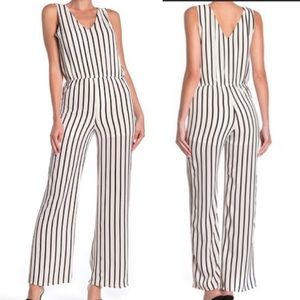 Love...Ady Stripe Double V Jumpsuit Size Medium